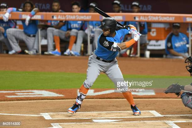 Chicago White Sox prospect Yoan Moncada of the World Team bats during the 2017 SiriusXM AllStar Futures Game at Marlins Park on July 9 2017 in Miami...