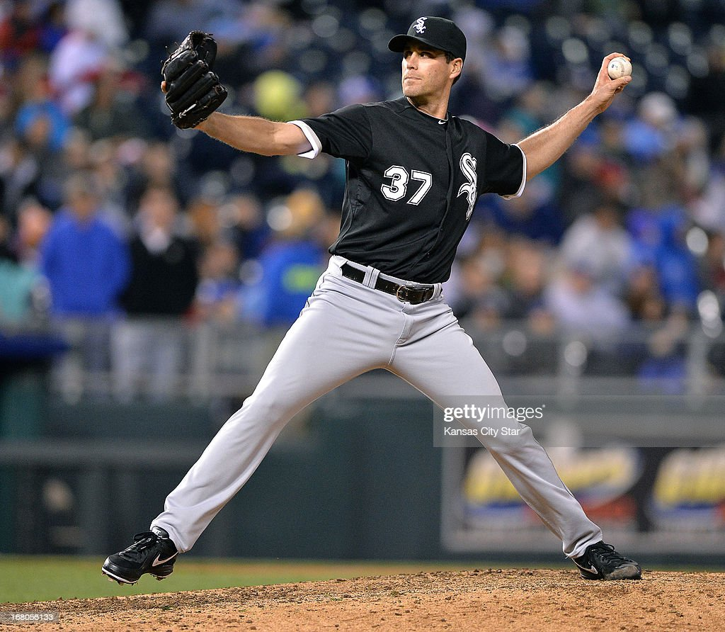 Chicago White Sox relief pitcher Matt Thornton throws in the eighth inning against the Kansas City Royals on Saturday, May 4, 2013, at Kauffman Stadium in Kansas City, Missouri. The Royals won, 2-0.