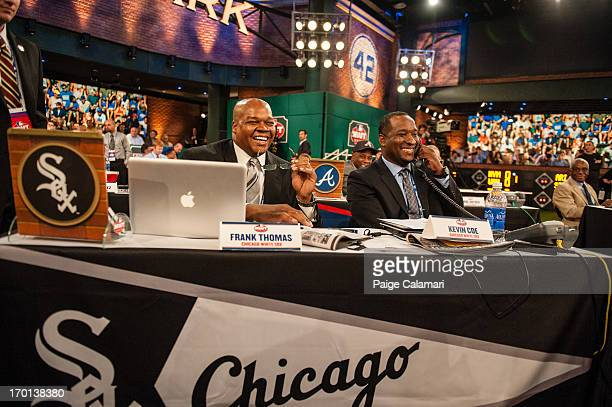 Chicago White Sox representatives Frank Thomas and Kevin Coe are seen during the 2013 FirstYear Player Draft at MLB Network's Studio 42 on June 6...