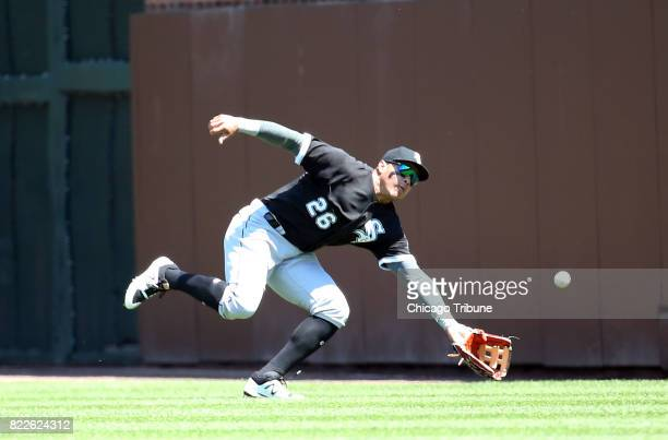 Chicago White Sox right fielder Avisail Garcia can't make the catch on a double by the Chicago Cubs' Addison Russell in the second inning on Tuesday...
