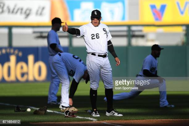 Chicago White Sox right fielder Avisail Garcia gives a thumbs up while warming up prior to a game between the Cleveland Indians and the Chicago White...