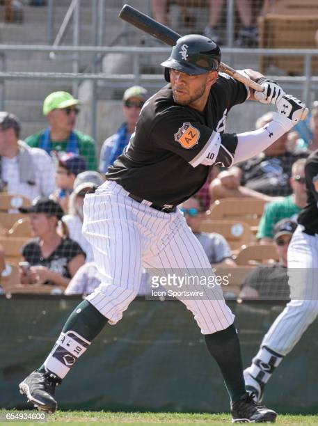 Chicago White Sox Second Baseman Yoan Moncada prepares to swing during a spring training game between the Chicago Cubs and the Chicago White Sox on...