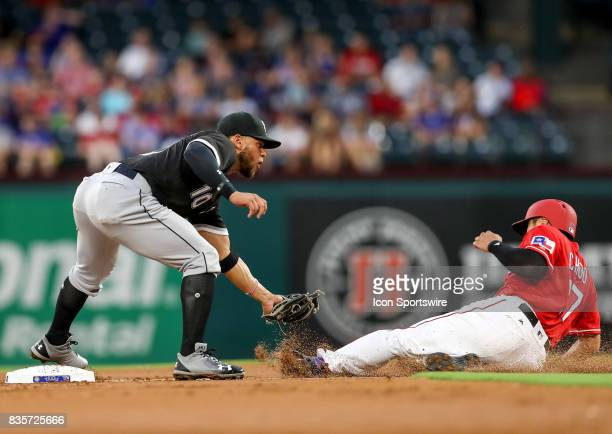Chicago White Sox second baseman Yoan Moncada tags out Rangers ShinSoo Choo at second base during the MLB game between the Chicago White Sox and...
