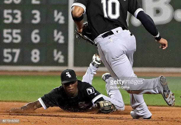 Chicago White Sox shortstop Tim Anderson makes the stop on a hard hit ground ball by Boston Red Sox center fielder Jackie Bradley Jr but fails to...