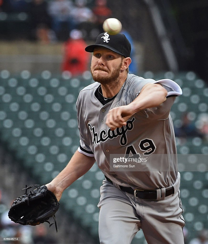 Chicago White Sox starter Chris Sale pitched five and one-third innings against the Baltimore Orioles on Sunday, May 1, 2016, at Oriole Park at Camden Yards in Baltimore.