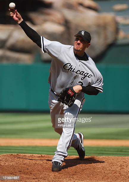Chicago White Sox starter Freddy Garcia pitches during 90 victory over the Los Angeles Angels of Anaheim at Angel Stadium in Anaheim Calif on...