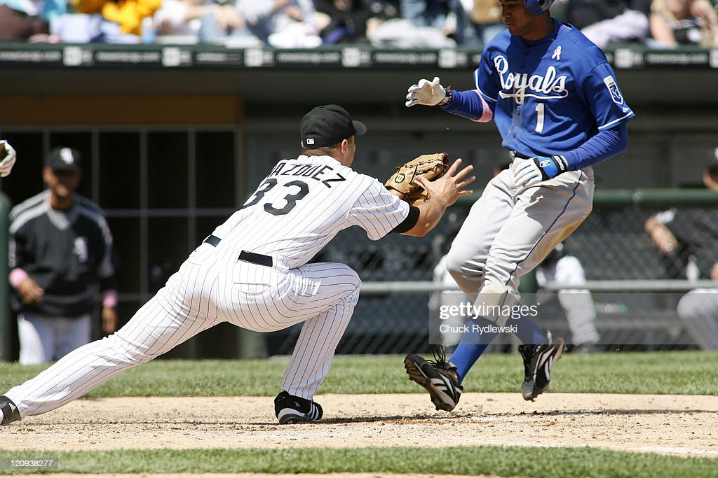 Chicago White Sox' Starter, Javier Vazquez tags out Tony Pena Jr. trying to score on a wild pitch during their game versus the Kansas City Royals May 13, 2007 at U.S. Cellular Field in Chicago, Illinois. The White Sox would lose to the Royals 11-1.