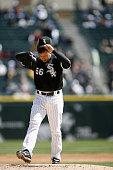 Chicago White Sox Starter Mark Buehrle paws the mound after giving up a lead off home run to Grady Sizemore during their game against the Cleveland...