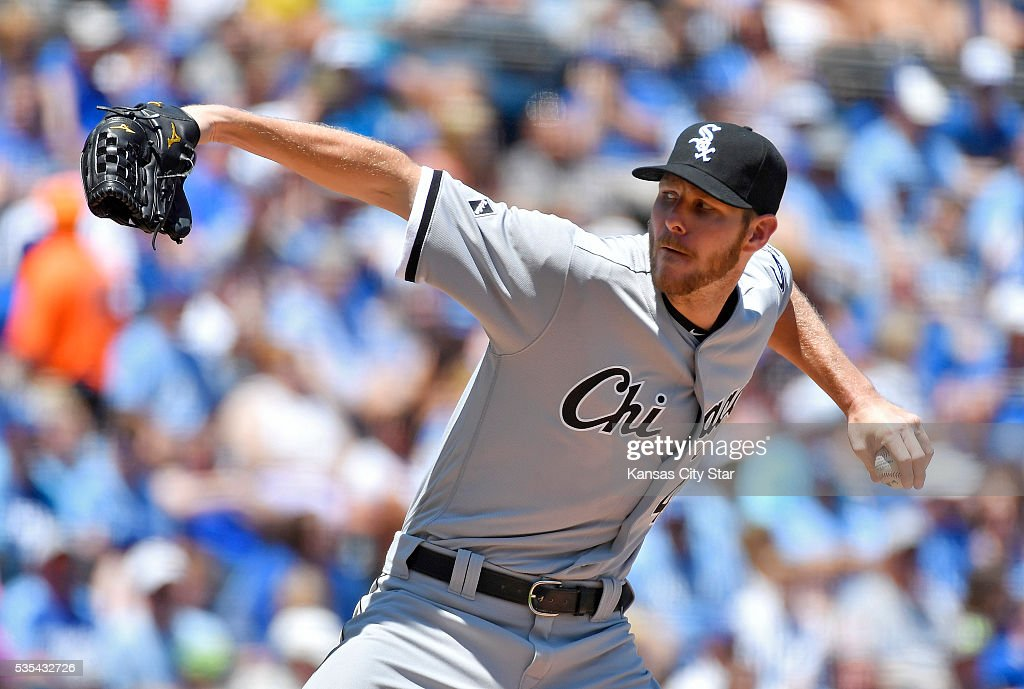 Chicago White Sox starting pitcher Chris Sale throws during the first inning on Sunday, May 29, 2016, at Kauffman Stadium in Kansas City, Mo.