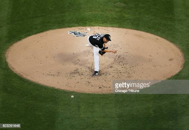 Chicago White Sox starting pitcher James Shields works against the Chicago Cubs during the second inning at Guaranteed Rate Field in Chicago on...