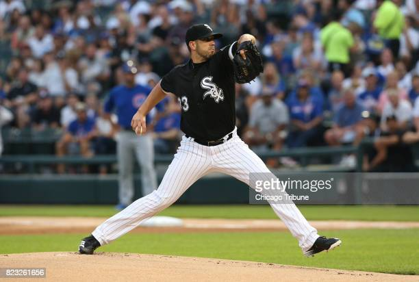 Chicago White Sox starting pitcher James Shields works against the Chicago Cubs during the first inning at Guaranteed Rate Field in Chicago on...