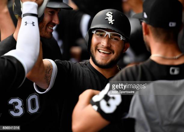 Chicago White Sox third baseman Yolmer Sanchez celebrate in the dugout after hitting a three run home run during the game between the Minnesota Twins...