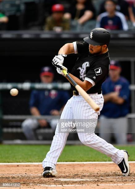Chicago White Sox third baseman Yolmer Sanchez hits a three run home run during the game between the Minnesota Twins and the Chicago White Sox on...
