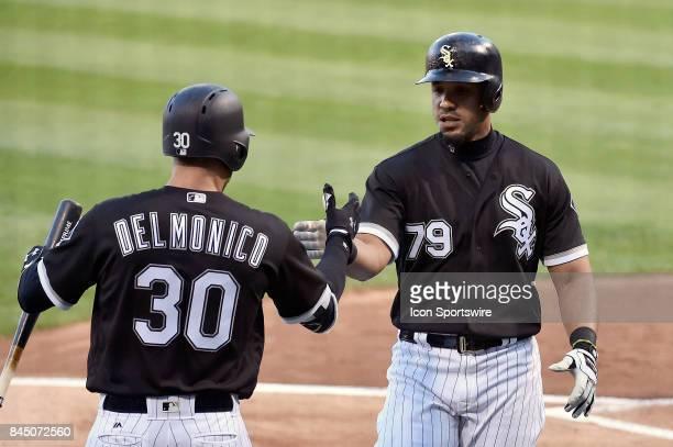 Chicago White Sox's Nicky Delmonico and Chicago White Sox's Jose Abreu celebrate the home run hit by Chicago White Sox's Jose Abreu during the game...