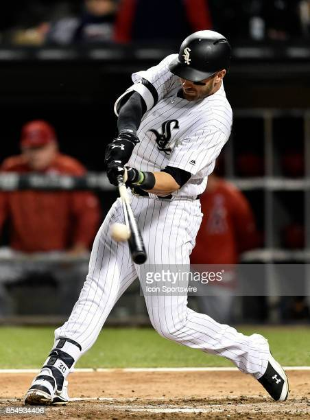 Chicago White Sox's Nicky Delmonico hits a RBI double during the game between the Los Angeles Angels and the Chicago White Sox on September 27 2017...