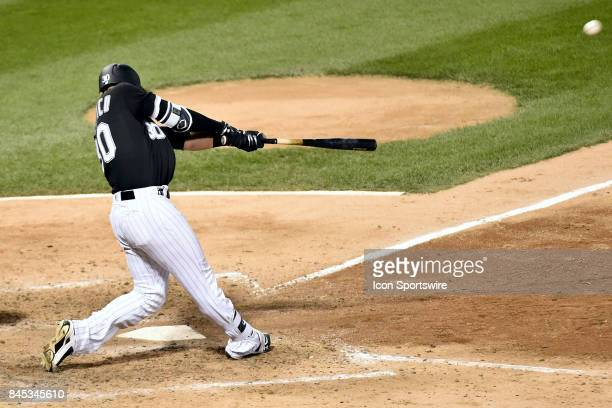 Chicago White Sox's Nicky Delmonico hits a two run home run during the game between the San Francisco Giants and the Chicago White Sox on September 9...