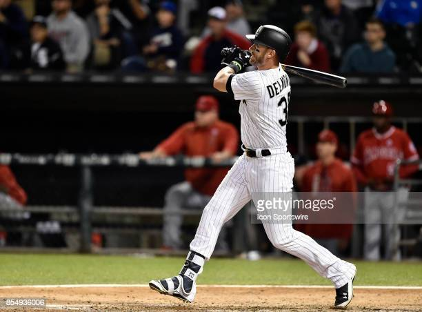 Chicago White Sox's Nicky Delmonico watches his walk off home run ball leave the park during the game between the Los Angeles Angels and the Chicago...