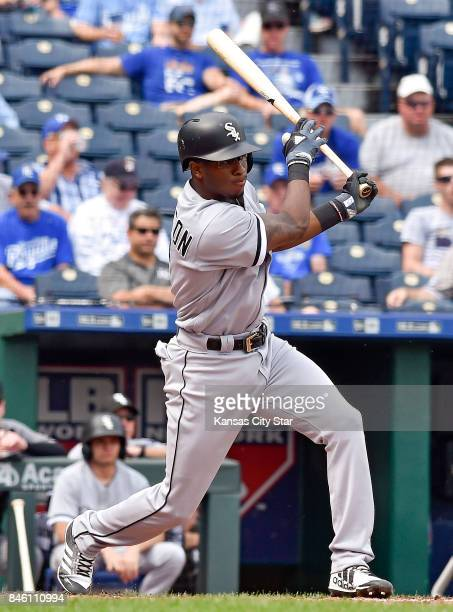 Chicago White Sox's Tim Anderson follows through on an RBI single to score Nicky Delmonico in the fourth inning during against the Kansas City Royals...