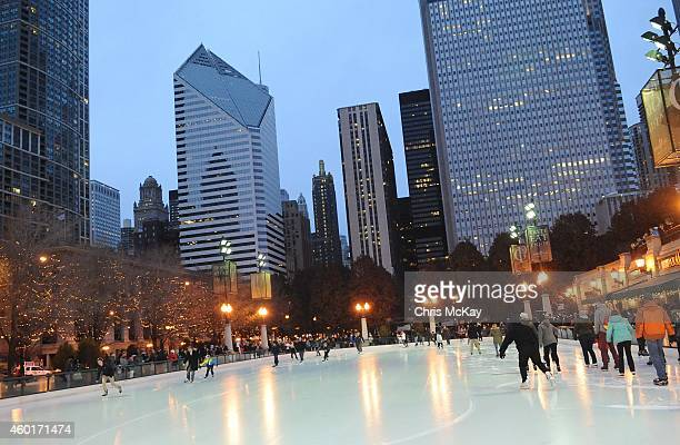 Chicagoans enjoy the season at Millennium Park's McCormick Tribune Ice Rink on December 08 2014 in Chicago Illinois