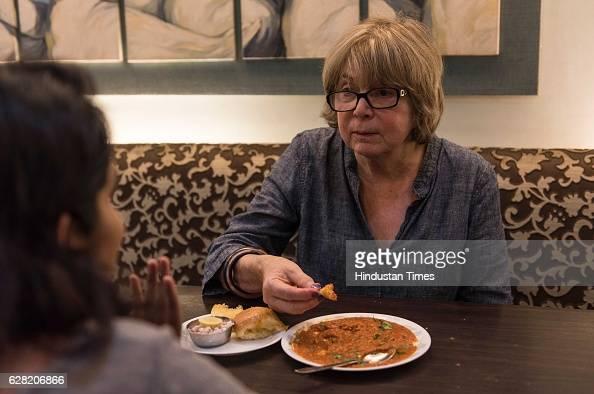 Chicagobased food historian and writer Colleen Taylor Sen tasting Pav Bhaji at Sukh Sagar Chowpatty on November 18 2016 in Mumbai India Colleen said...