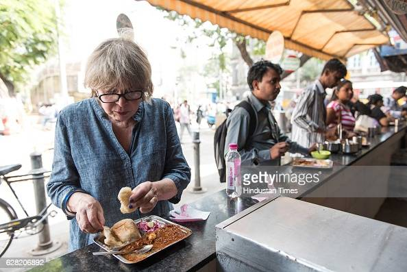 Chicagobased food historian and writer Colleen Taylor Sen tasting Pav Bhaji at Manohar food outlet Fort on November 18 2016 in Mumbai India Colleen...