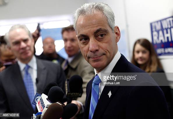 Chicago's mayor and candidate for reelection Rahm Emanuel speaks to reporters during a news conference at his campaign office April 6 2015 in Chicago...