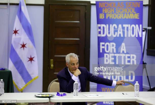 Chicago's Mayor Rahm Emanuel listens to students talks about their high school experience at Senn High School on Wednesday May 10 2017 in Chicago...