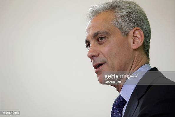 Chicago's Mayor Rahm Emanuel speaks during a news conference at Carole Robertson Center for Learning April 8 2015 in Chicago Illinois Emanuel was...