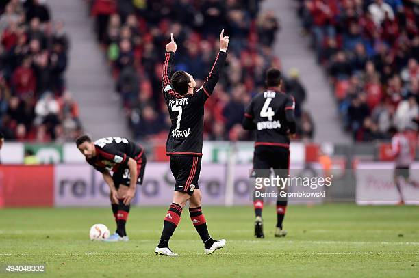 Chicharito of Bayer Leverkusen celebrates as he scores his team's third goal during the Bundesliga match between Bayer Leverkusen and VfB Stuttgart...