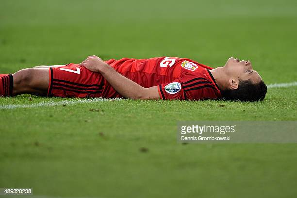 Chicharito of Bayer Leverkusen despairs after missing a chance at goal during the Bundesliga match between Borussia Dortmund and Bayer Leverkusen at...