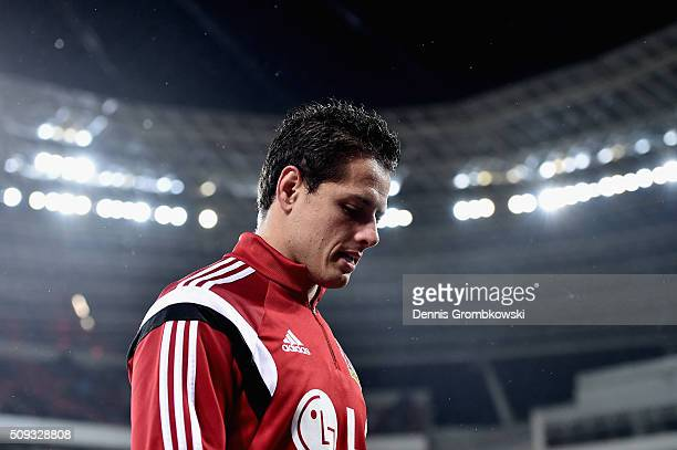 Chicharito of Bayer Leverkusen looks on prior to kickoff during the DFB Cup Quarter Final match between Bayer Leverkusen and Werder Bremen at...