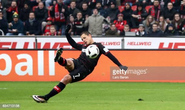 Chicharito of Bayer Leverkusen scores his teams first goal during the Bundesliga match between Bayer 04 Leverkusen and Eintracht Frankfurt at...