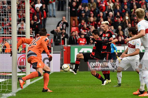 Chicharito of Bayer Leverkusen scores his team's third goal during the Bundesliga match between Bayer Leverkusen and VfB Stuttgart at BayArena on...