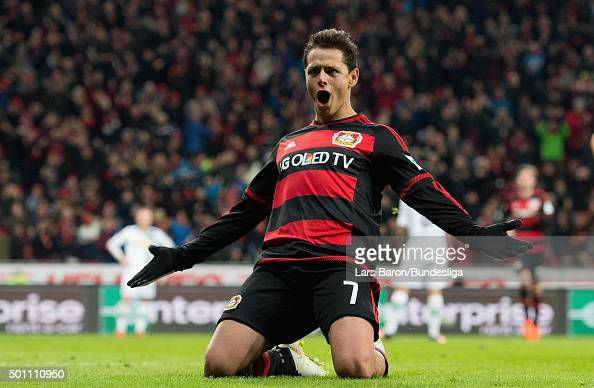 Chicharito of Leverkusen celebrates after scoring his teams second goal during the Bundesliga match between Bayer Leverkusen and Borussia...