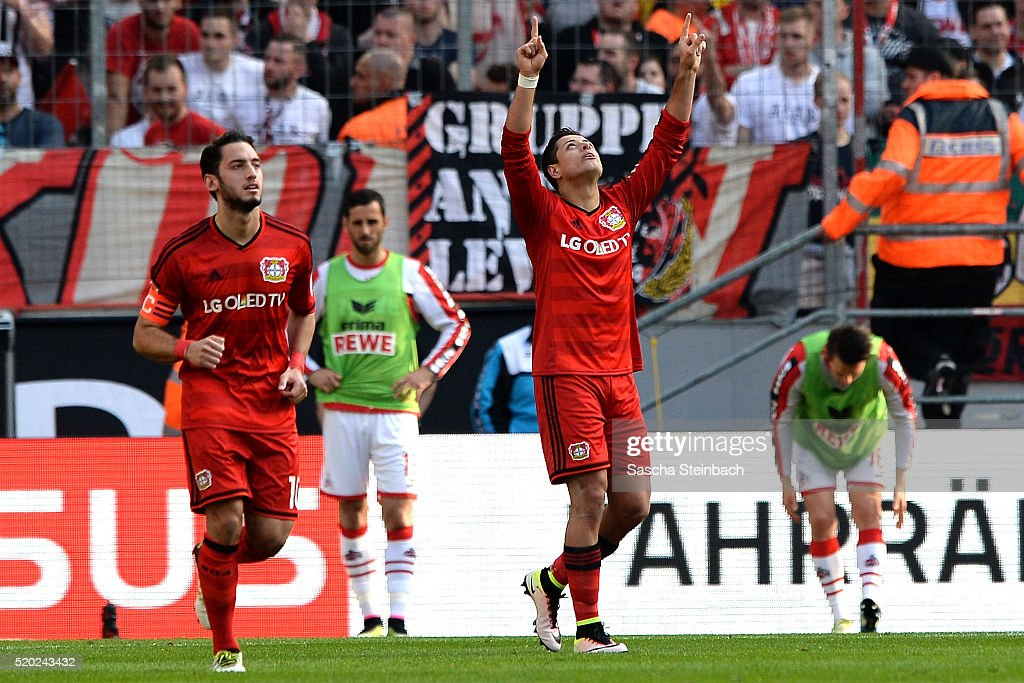 Chicharito of Leverkusen celebrates after scoring his team's second goal during the Bundesliga match between 1. FC Koeln and Bayer Leverkusen at RheinEnergieStadion on April 10, 2016 in Cologne, Germany.