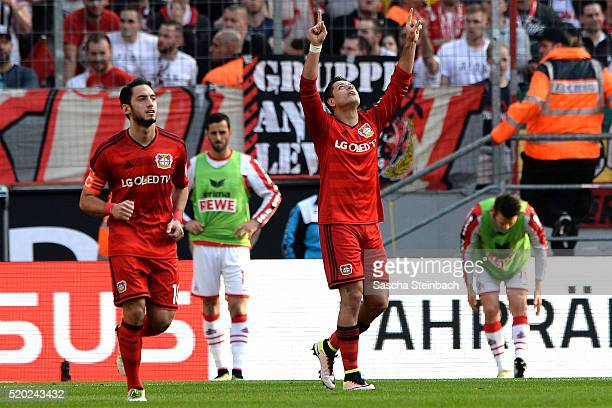 Chicharito of Leverkusen celebrates after scoring his team's second goal during the Bundesliga match between 1 FC Koeln and Bayer Leverkusen at...