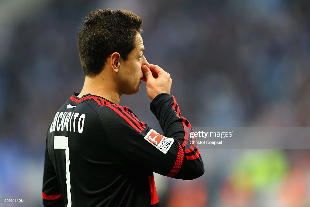 Chicharito of Leverkusen is seen during the Bundesliga match between Bayer Leverkusen and Hertha BSC Berlin at BayArena on April 30, 2016 in Leverkusen, Germany. The match between Leverkusen and Berlin ended 2-1.