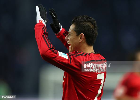 Chicharito of Leverkusen jubilates after scoring the second goal during the Bundesliga match between Hertha BSC and Bayer Leverkusen at...