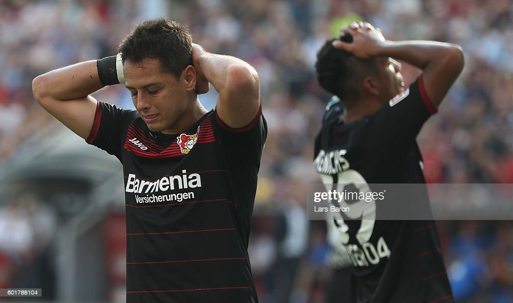 Chicharito of Leverkusen reacts during the Bundesliga match between Bayer 04 Leverkusen and Hamburger SV at BayArena on September 10, 2016 in Leverkusen, Germany.