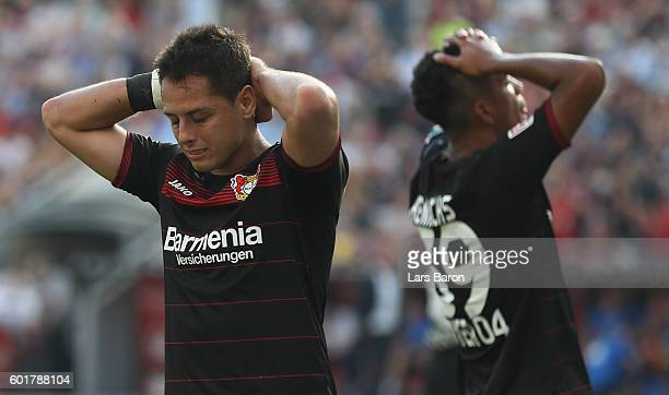 Chicharito of Leverkusen reacts during the Bundesliga match between Bayer 04 Leverkusen and Hamburger SV at BayArena on September 10 2016 in...