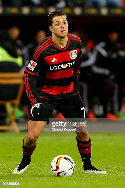 Chicharito of Leverkusen runs with the ball during the Bundesliga match between Bayer Leverkusen and Werder Bremen at BayArena on March 2 2016 in...