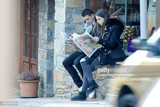 Chicharito player of Bayer Levekusen and Lucia Villalon are seen on December 26 2015 in Baqueira Beret Spain