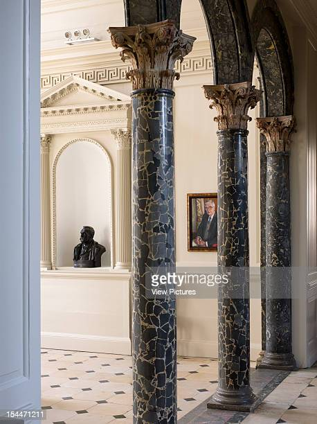 Chicheley Hall Kavli Royal Society Burrell Foley Fischer North Buckinghamshire United Kingdom 2010 Partial View Of Baroque Entrance Hall With Columns...
