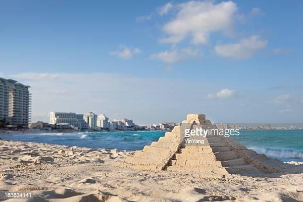 Chichen Itza Sandcastle Pyramid on Topical Hotel Beach, Cancun, Mexico