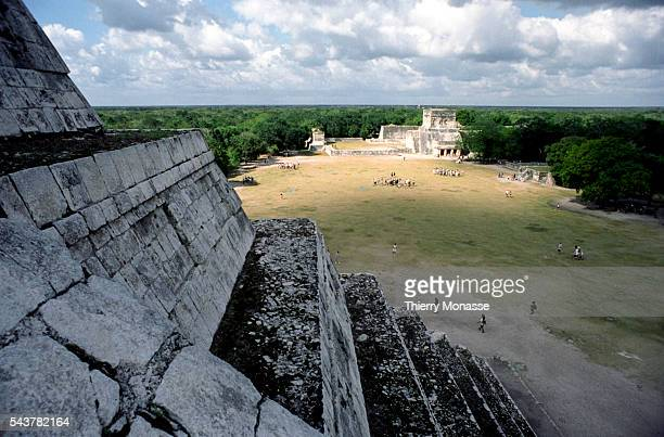 Chichén Itzá Yucatán State Mexico December 22 2004 The Mesoamerican ballcourt is seen from the Temple of Kukulcan that is a Mesoamerican steppyramid...