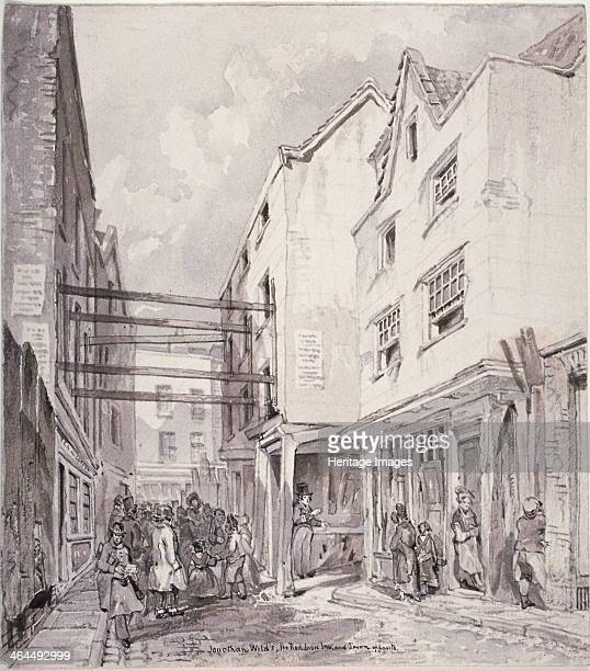 Chick Lane City of London 1825 View of Jonathan Wild's house and the Red Lion Inn and tavern opposite
