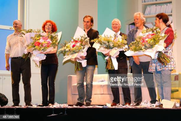 Chick Ortega Evelyne Buyle autor of the play Sebastien Thierry stage director Bernard Murat Pierre Arditi and Nanou Garcia pose after the 'Comme s'il...