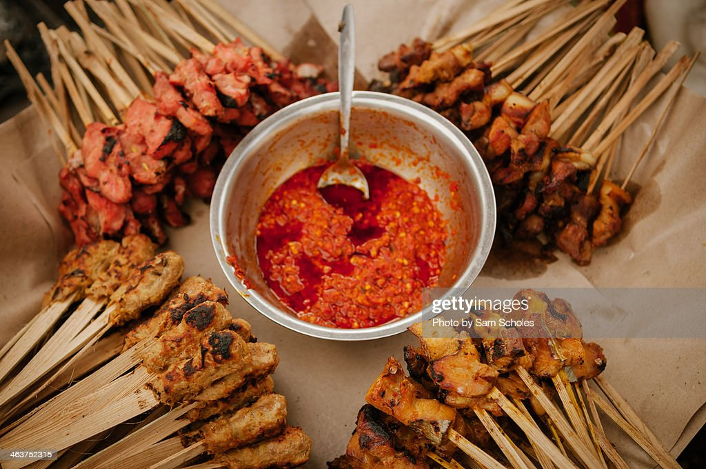 Chicken and beef satay for sale : Stock Photo