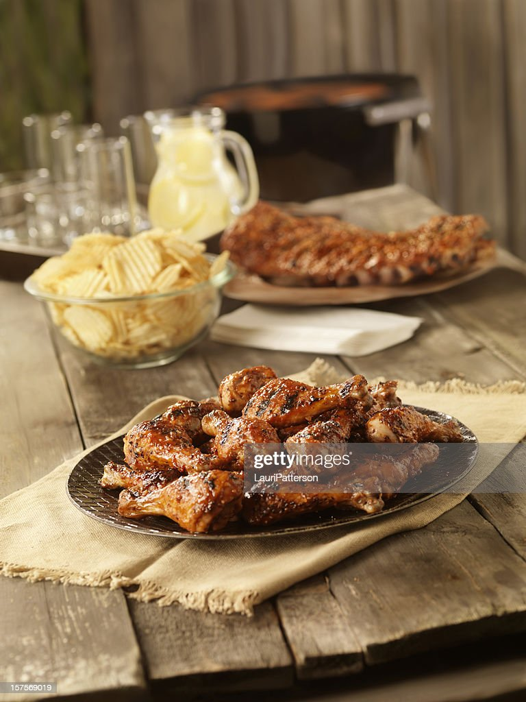 BBQ Chicken and Pork Ribs : Stock Photo