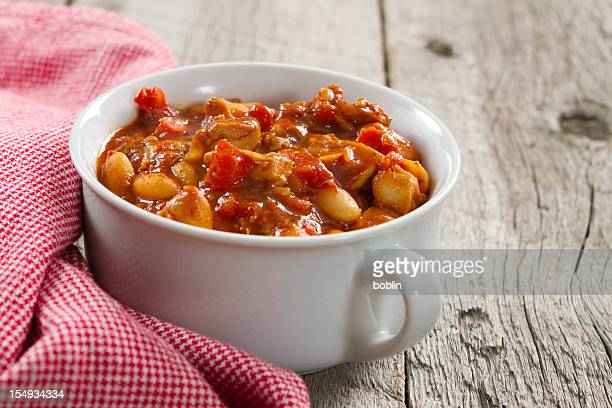 Chicken and white bean chili in a bowl